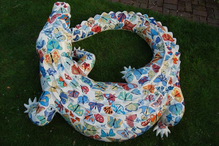Crocodile 5 Medium: Painted Fibreglass Sculpture